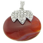 Pendants Red agat, Oval, me diamant i rremë, 40x37x12mm, : 4x7mm, 10PC/Qese,  Qese