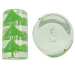 Weihnachten Lampwork Perlen, Rohr, 20x11mm, Bohrung:ca. 1.5mm, verkauft von PC