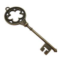 Alloy zink Pendants kyçe, Ngjyra antike bronz i praruar, asnjë, , nikel çojë \x26amp; kadmium falas, 76x26x5mm, : 3mm, 150PC/KG,  KG