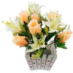 Lule artificiale Kryesore Dekor, Mëndafsh, Shape Tjera, portokall, 400x380mm, 10PC/Qese,  Qese