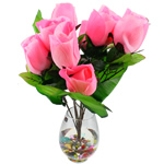 Lule artificiale Kryesore Dekor, Mëndafsh, Shape Tjera, rozë, 550x350mm, 10PC/Qese,  Qese