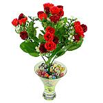Lule artificiale Kryesore Dekor, Mëndafsh, Shape Tjera, i kuq, 290x180mm, 10PC/Qese,  Qese