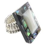 Shell Finger unaza, Predhë, Drejtkëndësh, i praruar, ngjyrë platin, 22x32mm, 21mm, :8, 10PC/Shumë,  Shumë