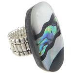 Shell Finger unaza, Predhë, Oval Flat, i praruar, ngjyrë platin, 23x38mm, 22mm, :9, 10PC/Shumë,  Shumë