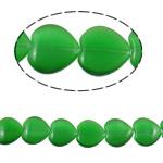 Cats Eye Perlen Schmuck, Katzenauge, Herz, grün, 16x15.50x5mm, Bohrung:ca. 1mm, ca. 22PCs/Strang, verkauft per ca. 14.1 ZollInch Strang