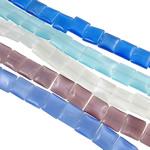 Cats Eye Perlen Schmuck, Katzenauge, Quadrat, gemischte Farben, 12x4.50mm, Bohrung:ca. 1mm, Länge:ca. 15.4 ZollInch, 10SträngeStrang/Tasche, ca. 32PCs/Strang, verkauft von Tasche