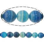 Beads Blue Natyrore agat, Blue agat, Round, asnjë, makinë faceted & shirit, 8mm, : 2mm, :15Inç, 5Fillesat/Shumë,  Shumë