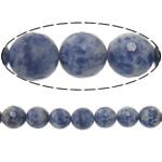 Agat Beads, Spot Blue, Round, asnjë, makinë faceted, 10mm, : 2mm, :15Inç, 10Fillesat/Shumë,  Shumë