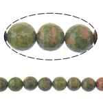 Beads Unakite, Round, 12mm, : 1mm, :15Inç, 5Fillesat/Shumë,  Shumë