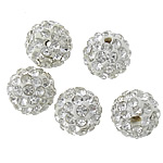 Strass Ton befestigte Perlen, rund, mit 48 Strasssteinen, 8mm, PP12, Bohrung:ca. 2mm, 100PCs/Menge, verkauft von Menge
