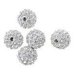Diamant i rremë balta Beads hapë, Argjilë, Round, asnjë, me diamant i rremë, Kristal, 10mm, PP15, : 2mm, 100PC/Shumë,  Shumë