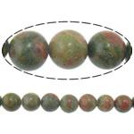 Beads Unakite, Round, natyror, 14mm, : 1.5mm, :16Inç, 5Fillesat/Shumë,  Shumë