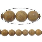 Holzmaserung Stein Perlen, Grain Stein, rund, natürlich, 14mm, Bohrung:ca. 1.2-1.4mm, Länge:ca. 15 ZollInch, 10SetsSatz/Menge, ca. 27PCs/Strang, verkauft von Menge