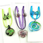 Lampwork Jewelry Sets, mixed color & style, same style for lampwork necklace & earring, blowout price for clearance, valuable jewelry sets, 30-62mm, Length:18 Inch, Sold by Set
