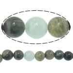 Beads gjelbër Stone Flokët, Stone e gjelbër e flokeve, Round, natyror, 12mm, : 2mm, :15Inç, 10Fillesat/Shumë,  Shumë