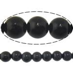 Schwarze Stein Perlen, schwarzer Stein, rund, natürlich, 10mm, Bohrung:ca. 1mm, Länge:ca. 15 ZollInch, 10SträngeStrang/Menge, ca. 37PCs/Strang, verkauft von Menge