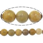 Verdhë veze Beads Stone, Verdhë veze Stone, Round, 12mm, : 2mm, :15.8Inç, 5Fillesat/Shumë,  Shumë