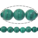 Beads malakit, Round, natyror, 14mm, : 1.2mm, :15.8Inç, 5Fillesat/Shumë,  Shumë
