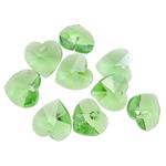 Crystal Pendants, Kristal, Zemër, Peridot, 14x14x7.50mm, : 1mm, 10PC/Qese,  Qese