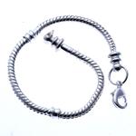 Messing European Armband, Silberfarbe, frei von Nickel, Blei & Kadmium, 3mm, Länge:6.5 ZollInch, 10SträngeStrang/Tasche, verkauft von Tasche