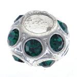 Strass Perlen European Stil, Zinklegierung, Trommel, ohne troll & mit Strass, 11x7mm, Bohrung:ca. 5mm, 10PCs/Tasche, verkauft von Tasche