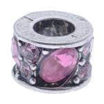 Diamant i rremë Beads European, Alloy zink, Kolonë, pa karrem & me diamant i rremë, 10x7mm, : 5mm, 10PC/Qese,  Qese