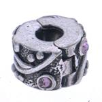 Alloy zink European Clip, Ngjyra antike argjendi praruar, me diamant i rremë, asnjë, , nikel çojë \x26amp; kadmium falas, 10x6.5mm, : 3.5mm, 10PC/Qese,  Qese