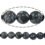 Snowflake Beads xham vullkanik, Snowflake Obsidian, Round, natyror, i importuar, 10mm, : 2mm, :15.8Inç, 10Fillesat/Shumë,  Shumë