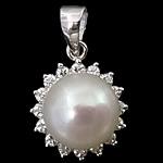 Pendants Pearl ujërave të ëmbla, Pearl kulturuar ujërave të ëmbla, with Kub kub & 925 Sterling Silver, Round Flat, Platinum kromuar, e bardhë, 11.50x11.50x8.50mm, : 3x5mm, 5PC/Shumë,  Shumë