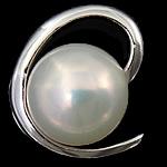 Pendants Pearl ujërave të ëmbla, Pearl kulturuar ujërave të ëmbla, with 925 Sterling Silver, Round, Platinum kromuar, e bardhë, 13.50x15x8mm, : 2.5mm, 5PC/Shumë,  Shumë