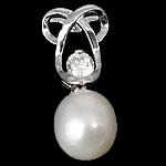 Pendants Pearl ujërave të ëmbla, Pearl kulturuar ujërave të ëmbla, with Kub kub & 925 Sterling Silver, Lot, Platinum kromuar, e bardhë, 9x22x7.50mm, : 2.5mm, 5PC/Shumë,  Shumë