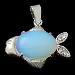 Deti Pendants opal, Tunxh, Peshk, ngjyrë platin praruar, me diamant i rremë, dritë blu, 28.50x20x8mm, : 4x6mm, 10PC/Shumë,  Shumë