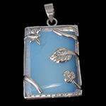 Deti Pendants opal, Deti Opal, with Tunxh, Drejtkëndësh, ngjyrë platin praruar, dritë blu, 24.50x32x9mm, : 4x6mm, 10PC/Shumë,  Shumë