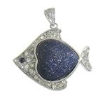 Blue Pendants Goldstone, Blue Goldstone, with Tunxh, Peshk, ngjyrë platin praruar, me diamant i rremë, 41x33x8mm, : 4x6mm, 10PC/Shumë,  Shumë