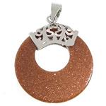 Pendants Goldstone, Petull e ëmbël në formë gjevreku, ngjyrë platin praruar, 28x32.50x4mm, : 4x6mm, 10PC/Shumë,  Shumë