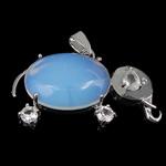 Deti Pendants opal, Tunxh, Elefant, ngjyrë platin praruar, me diamant i rremë, dritë blu, 42.50x25x9.50mm, : 4x6mm, 10PC/Shumë,  Shumë