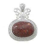 Pendants gur i çmuar bizhuteri, Jasper Brecciated, with Tunxh, Oval Flat, ngjyrë platin praruar, 34.50x45x8mm, : 4x6mm, 10PC/Shumë,  Shumë