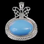 Deti Pendants opal, Deti Opal, with Tunxh, Oval Flat, ngjyrë platin praruar, dritë blu, 34.50x45x8mm, : 4x6mm, 10PC/Shumë,  Shumë