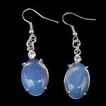 Një palë vathë gur i çmuar, Deti Opal, Oval, ngjyrë platin praruar, me diamant i rremë, asnjë, 12.50x50x6mm, :1.96Inç, 10Çiftet/Shumë,  Shumë