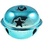 Hekuri Pendants Bell, pikturë, dritë blu, , nikel çojë \x26amp; kadmium falas, 26x31.5mm, : 6.5x3mm, 100PC/Qese,  Qese