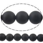 Natürliche schwarze Achat Perlen, Schwarzer Achat, rund, verschiedene Größen vorhanden & satiniert, verkauft per 15 ZollInch Strang