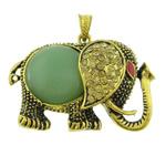 Pendants aventurine, Aventurine jeshile, Elefant, natyror, me diamant i rremë, 57.50x43x14mm, : 4.2x7.5mm, 10PC/Qese,  Qese
