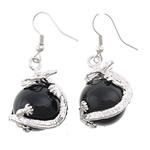 Një palë vathë gur i çmuar, Black agat, Round, ngjyrë platin praruar, asnjë, 16x42mm, :1.65Inç, 10Çiftet/Shumë,  Shumë