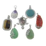 Pendants përziera gur i çmuar, with Tunxh, Shape përziera, 24-37x37-50x8-15mm, : 4x6mm, 10PC/Shumë,  Shumë