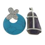 Pendants përziera gur i çmuar, with Tunxh, Shape përziera, 30-40x50-52x5-4mm, : 4x6mm, 10PC/Shumë,  Shumë