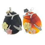 Agat pendants bizhuteri, Agat përziera, Lot, 35x50x11mm, : 3x5mm, 5PC/Shumë,  Shumë