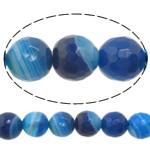 Beads Blue Natyrore agat, Blue agat, Round, asnjë, makinë faceted & shirit, 16mm, : 1-1.5mm, :15Inç, 5Fillesat/Shumë,  Shumë