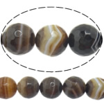 Agat Beads, Agat Kafe, Round, asnjë, makinë faceted & shirit, 12mm, : 1-1.5mm, :15Inç, 5Fillesat/Shumë,  Shumë