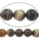Natürliche Kaffee Achat Perlen, rund, verschiedene Größen vorhanden & Maschine facettiert & Streifen, Bohrung:ca. 1-1.2mm, Länge:ca. 15 ZollInch, verkauft von Menge