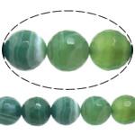 Beads Dashuri Green agat, Jeshile agat, Round, asnjë, makinë faceted & shirit, 14mm, : 1-1.5mm, :15Inç, 5Fillesat/Shumë,  Shumë